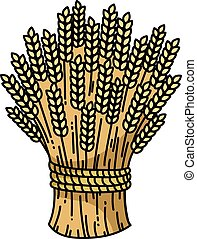 Sheaf of wheat, vector image. Colorful flat icon.