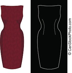 Sheath dress image with white outline silhouette on black...