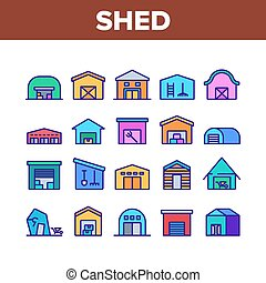 Shed Construction Collection Icons Set Vector