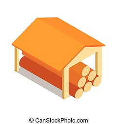 Shed icon, isometric 3d style