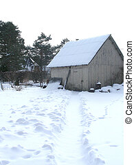 shed on snowy day