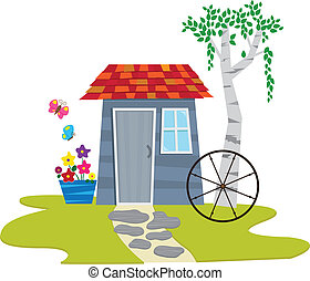Shed With Butterflies - A cute garden shed with flowers and...