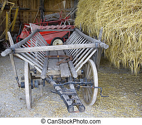 old cart and hay