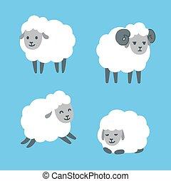 sheep, állhatatos, karikatúra