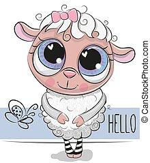 sheep, šikovný, běloba grafické pozadí