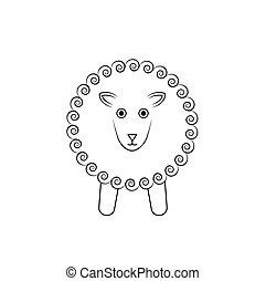 sheep, άσπρο , μικροβιοφορέας , περίγραμμα , εικόνα