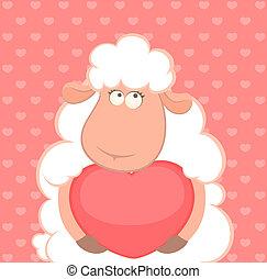 sheep, αστείος , αμπάρι , γελοιογραφία , καρδιά
