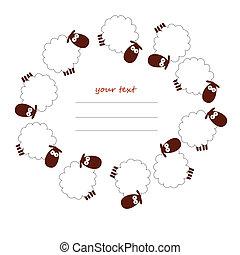 sheep, κορνίζα , άσπρο , στρογγυλός