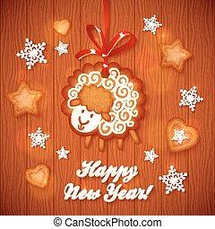 sheep, かわいい, 甘い, 挨拶, gingerbread, クリスマスカード