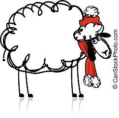 sheep, シンボル, santa, 年, 2015, 新しい