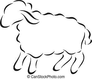 sheep, ベクトル, シルエット