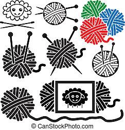 sheep, ボール, アイコン, シンボル, 裁縫, ヤーン, 装置, ベクトル, 針