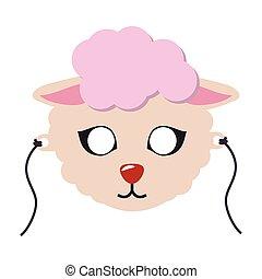 sheep, 動物, カーニバル, mask., かわいい, wooly, 子羊, ベクトル