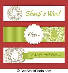 sheep, 愚か者, そして, 羊毛, 概念, 手, 引かれる, スタイル, ベクトル, テンプレート, 旗, セット