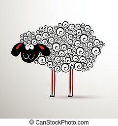 sheep., 抽象的, 年の, 新しい, 要素, design.