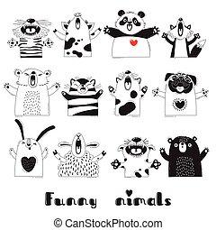 sheep, 有趣, 动物, childrens, 政党, pug, 狐狸, 忍耐, 猪, tiger, 设计, 海报...