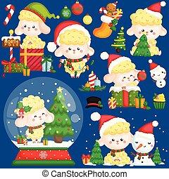 sheep, 漂亮, 集合, 穿, 矢量, 裝飾, stuffs, 聖誕節