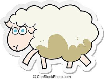 sheep, adesivo, fangoso, cartone animato