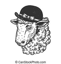 Sheep animal in woman hat engraving vector illustration....