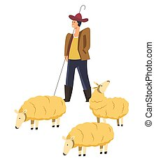 Sheep animals domestic pets and smiling shepherd vector -...