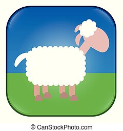 Sheep App. Application for counting sheep, as snooze button, for bleating or any similar matter. Comic illustration of a white sheep.