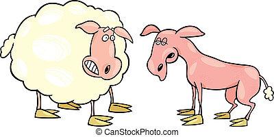 sheep, asustado, afeitado, uno