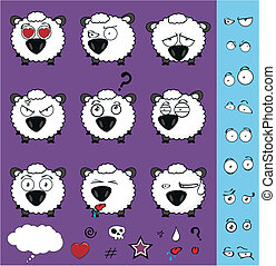 sheep baby cartoon set01 - sheep baby cartoon set in vector...