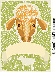 Sheep background for text. Vector vintage of domestic animal