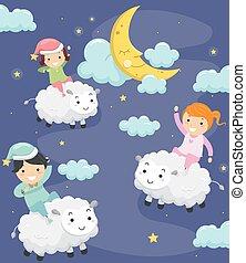 sheep, bambini, stickman, notte
