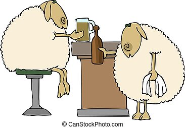 Sheep bar - This illustration depicts two sheep drinking at...