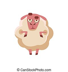 Sheep Being Sceptical Cute Childish Style Bright Color Design Icon Isolated On White Background