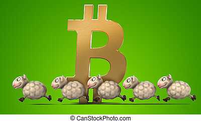 sheep, -, bitcoin, イラスト, 3d