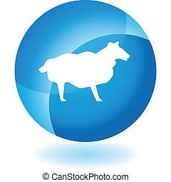 sheep, blå, transparent, ikon