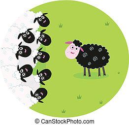 sheep, blanco, negro