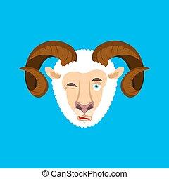 sheep, blinkning, emoji., lantgård, bagge, illustration, ansikte, avatar., vektor, djur, lycklig