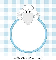 sheep blue frame Space for text or photo