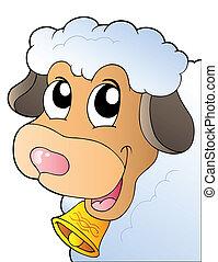 sheep, caricatura, espreitando