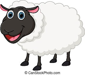 sheep, caricatura, feliz