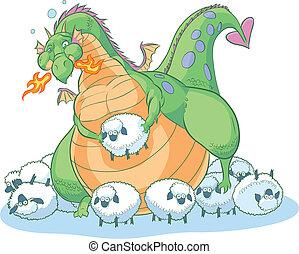 sheep, caricatura, grasa, dragón
