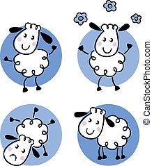 sheep, carino, scarabocchiare, isolato, collezione, bianco