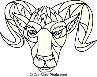 sheep, carnero, negro, carnero, blanco, mosaico