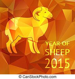 sheep, cartel, año, 2015, o, tarjeta