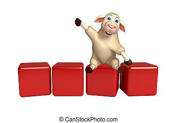 Sheep cartoon character with level