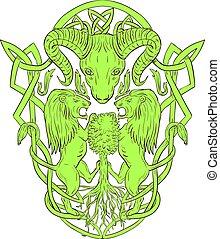sheep, celta, carnero, chamarra, árbol, brazos, león, nudo