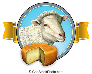 Sheep cheese lable - Nice label design including a sheep and...