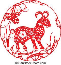 sheep, chinês, vermelho, ilustração, sorte