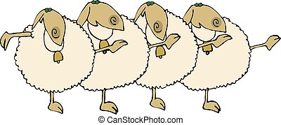 Sheep Chorus Line - This illustration depicts four sheep...