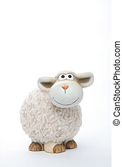 Sheep coin bank on white background