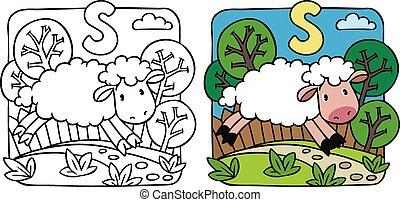 Sheep coloring book. Alphabet S