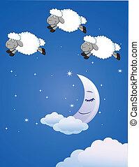 sheep, con, luna y estrellas